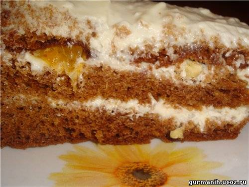 Бисквит с медом на сметане